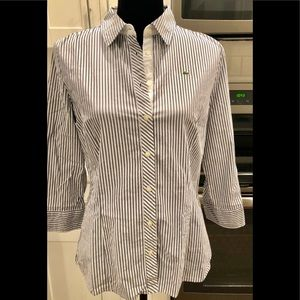 Grey & white striped Lacoste blouse